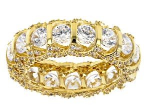 White Cubic Zirconia 18K Yellow Gold Over Sterling Silver Eternity Band Ring 8.35ctw