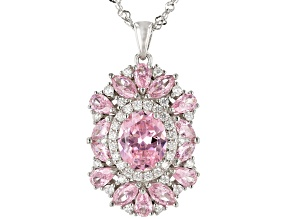 Pink And White Cubic Zirconia Rhodium Over Sterling Silver Pendant With Chain 8.92ctw