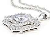 White Cubic Zirconia Rhodium Over Sterling Silver Pendant With Chain 7.99ctw