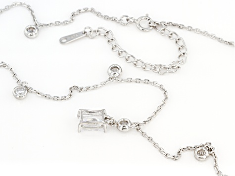 White Cubic Zirconia Rhodium Over Sterling Silver Necklace 4.23ctw (2.49ctw DEW)