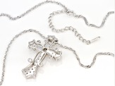 White Cubic Zirconia Rhodium Over Sterling Silver Cross Pendant With Chain 0.68ctw