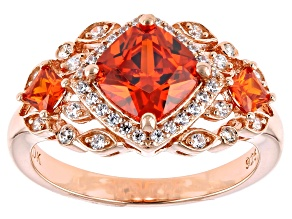 Orange And White Cubic Zirconia 18K Rose Gold Over Sterling Silver Ring 3.62ctw