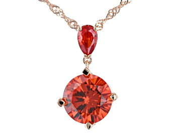 Picture of Orange Cubic Zirconia 18K Rose Gold Over Sterling Silver Pendant With Chain 7.86ctw