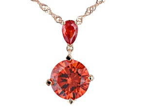 Orange Cubic Zirconia 18K Rose Gold Over Sterling Silver Pendant With Chain 7.86ctw