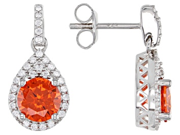Picture of Orange And White Cubic Zirconia Rhodium Over Sterling Silver Earrings 4.24ctw