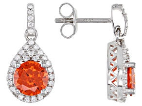 Orange And White Cubic Zirconia Rhodium Over Sterling Silver Earrings 4.24ctw
