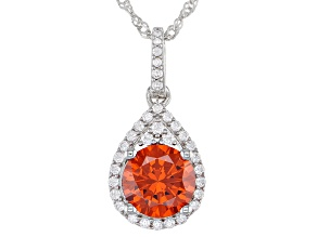 Orange And White Cubic Zirconia Rhodium Over Sterling Silver Pendant With Chain 4.84ctw