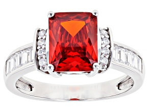 Orange And White Cubic Zirconia Rhodium Over Sterling Silver Ring 4.49ctw