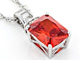 Orange And White Cubic Zirconia Rhodium Over Sterling Silver Pendant With Chain 4.29ctw
