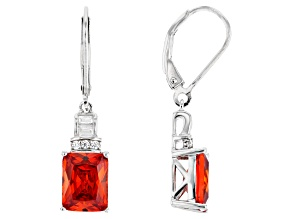 Orange And White Cubic Zirconia Rhodium Over Sterling Silver Earrings 8.10ctw