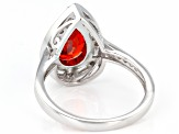 Orange And White Cubic Zirconia Rhodium Over Sterling Silver Ring 5.06ctw