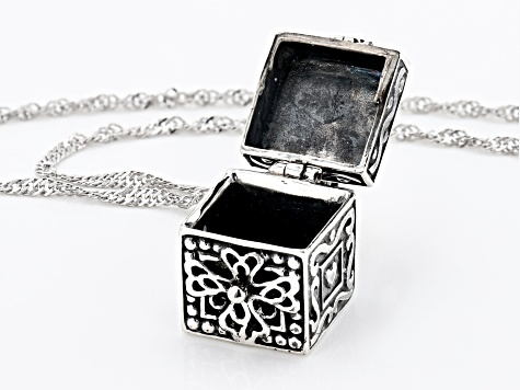 White Cubic Zirconia Rhodium Over Silver Prayer Box Pendant With Chain 0.60ctw (0.30ctw DEW)