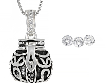 White Cubic Zirconia Rhodium Over Silver Prayer Box Pendant With Chain 0.75ctw (0.44ctw DEW)