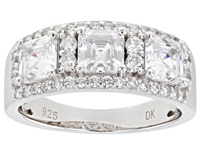 White Cubic Zirconia Rhodium Over Sterling Silver Ring 4.62ctw