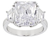 White Cubic Zirconia Rhodium Over Sterling Silver Ring 10.51ctw