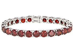 Red Cubic Zirconia Rhodium Over Sterling Silver Tennis Bracelet 62.98ctw