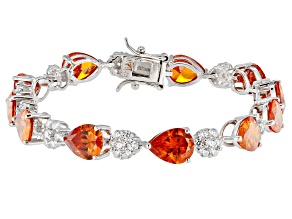 Orange And White Cubic Zirconia Rhodium Over Sterling Silver Bracelet 36.94ctw