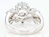 White Cubic Zirconia Rhodium Over Sterling Silver Clover Ring 3.00ctw