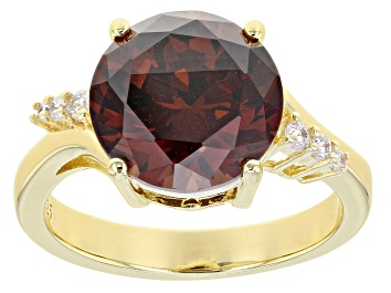 Picture of Brown And White Cubic Zirconia 18K Yellow Gold Over Sterling Silver Ring 8.54ctw