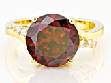 Brown And White Cubic Zirconia 18K Yellow Gold Over Sterling Silver Ring 8.54ctw