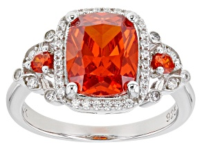 Orange And White Cubic Zirconia Rhodium Over Silver Ring 5.57ctw