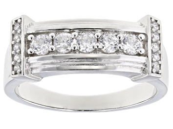 Picture of White Cubic Zirconia Rhodium Over Sterling Silver Mens Ring 1.33ctw
