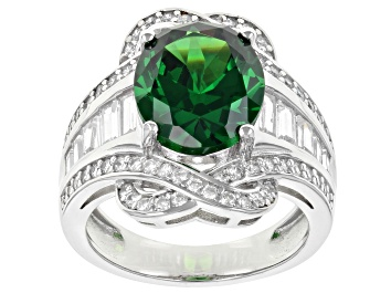 Picture of Green And White Cubic Zirconia Rhodium Over Sterling Silver Ring 10.54ctw