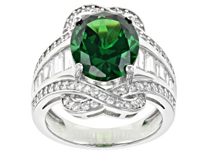 Green And White Cubic Zirconia Rhodium Over Sterling Silver Ring 10.54ctw