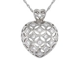 White Cubic Zirconia Rhodium Over Sterling Silver Heart Pendant With Chain 0.43ctw