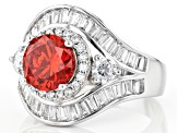 Orange And White Cubic Zirconia Rhodium Over Sterling Silver Ring 6.80ctw