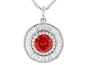 Orange And White Cubic Zirconia Rhodium Over Sterling Silver Pendant With Chain 5.63ctw
