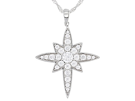 White Cubic Zirconia Rhodium Over Sterling Silver Star Pendant With Chain 4.07ctw