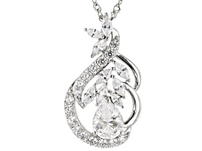 White Cubic Zirconia Rhodium Over Sterling Silver Pendant With Chain 5.85ctw