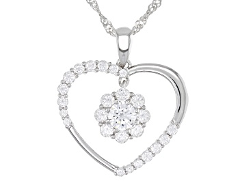 Picture of White Cubic Zirconia Rhodium Over Sterling Silver Heart Pendant With Chain 2.60ctw