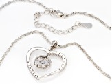 White Cubic Zirconia Rhodium Over Sterling Silver Heart Pendant With Chain 2.60ctw