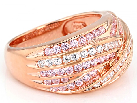 Pink And White Cubic Zirconia 18K Rose Gold Over Sterling Silver Ring 2.02ctw (1.32ctw DEW)