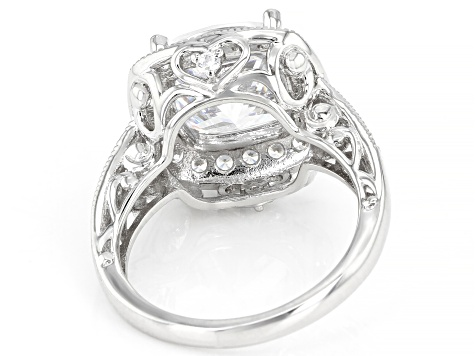 White Cubic Zirconia Rhodium Over Sterling Silver Ring 8.49ctw (4.45ctw DEW)