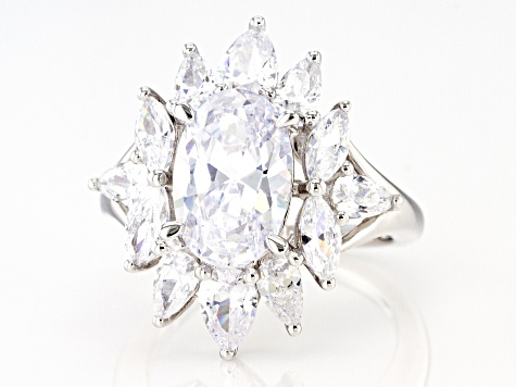 White Cubic Zirconia Rhodium Over Sterling Silver 9.77ctw (6.27ctw DEW)