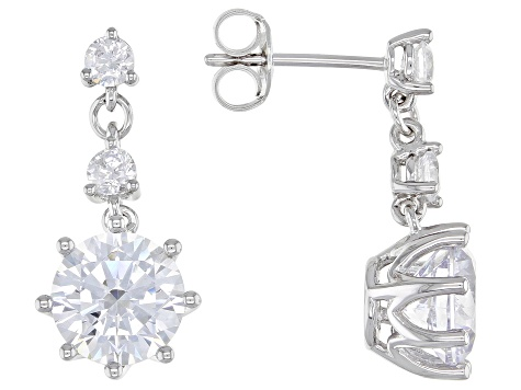 White Cubic Zirconia Rhodium Over Sterling Silver Earrings 7.64ctw (4.52ctw DEW)