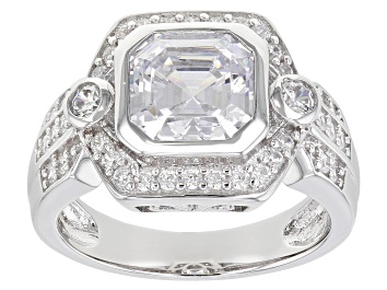 Picture of White Cubic Zirconia Rhodium Over Sterling Silver Asscher Cut Ring 4.45ctw