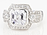 White Cubic Zirconia Rhodium Over Sterling Silver Asscher Cut Ring 4.45ctw