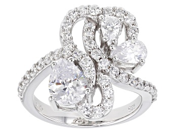 Picture of White Cubic Zirconia Rhodium Over Sterling Silver Ring 4.12ctw (2.67ctw DEW)