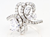 White Cubic Zirconia Rhodium Over Sterling Silver Ring 4.12ctw (2.67ctw DEW)