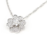 White Cubic Zirconia Rhodium Over Sterling Silver Flower Pendant With Chain 1.08ctw