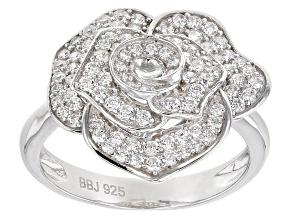 White Cubic Zirconia Rhodium Over Sterling Silver Flower Ring 0.93ctw