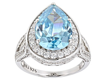 Picture of Blue And White Cubic Zirconia Rhodium Over Sterling Silver Ring 7.74ctw