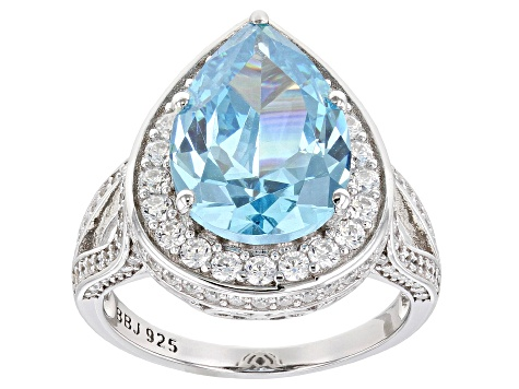 Blue And White Cubic Zirconia Rhodium Over Sterling Silver Ring 7.74ctw