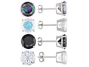 White, Black, Mystic Green, And Aurora Borealis Cubic Zirconia Rhodium Over Silver Earring Studs