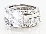 White Cubic Zirconia Rhodium Over Sterling Silver Asscher Cut Ring With 3 Bands 14.67ctw