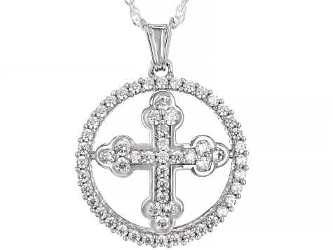 White Cubic Zirconia Rhodium Over Sterling Silver Cross Pendant With Chain 1.99ctw (0.99ctw DEW)